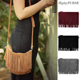 Mighty Purse Fringe X-Body Bag - Suede Leather