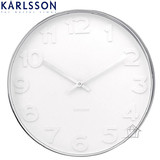 "Karlsson ""Mr White Numbers"" Small Steel Clock"