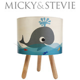 Micky & Stevie Whale Print Timber Lamp