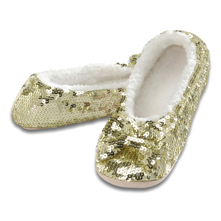 gold sparkle slippers