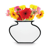 Silhouette Vase (25cm) - White with Black Detail