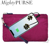 Mighty Purse Fashion Wristlet - Hot Pink Calf Fur