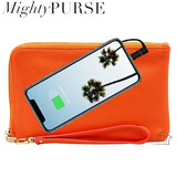 Mighty Purse Spark Wristlet - Vegan Leather - Orange