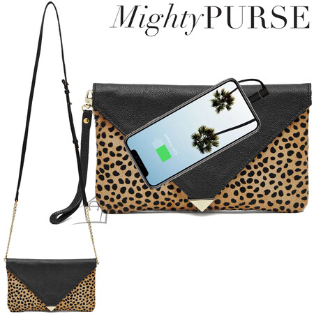 Mighty Purse Leather Envelope Clutch Fur Leopard Design